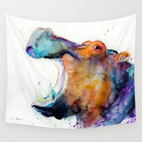 hippo Wall Tapestries featuring Hippo  by Slaveika Aladjova
