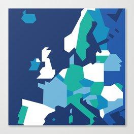 Geometric Europe Map - Blue Canvas Print