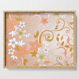Flowers wall paper 8 Serving Tray
