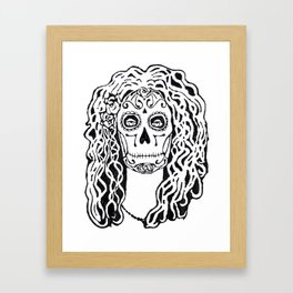 Dia de Los Muertos - black glue resist Framed Art Print