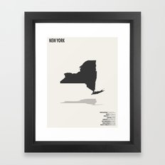 New York Minimalist State Map with Stats Framed Art Print
