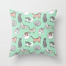 Cat pattern cute nursery cat lady kittens by andrea lauren Throw Pillow