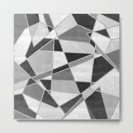 Abstract Color Block Watercolor Mosaic Metal Print