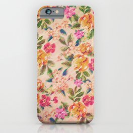 Golden Flitch (Digital Vintage Retro / Glitched Pastel Flowers - Floral design pattern) iPhone Case