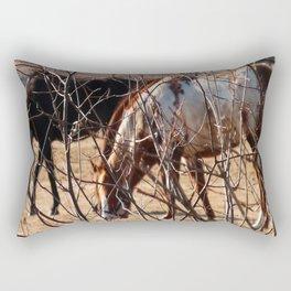 Horses Grazing Rectangular Pillow
