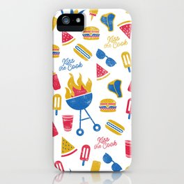 Summer BBQ Pattern - Blue Red Yellow iPhone Case