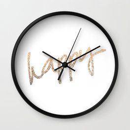 GOLD HAPPY Wall Clock