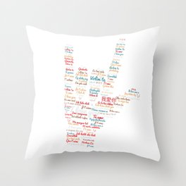 ASL I love you in different languages design ASL Love sign Throw Pillow
