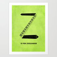will ferrell Art Prints featuring Z is for Zoolander by Meagan  Hyland