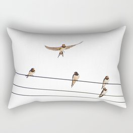 wired swallows chatting Rectangular Pillow