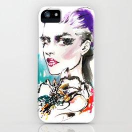 Turquoise and purple 2016 Fashion illustration iPhone Case