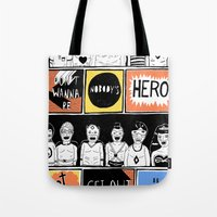 superheroes Tote Bags featuring Superheroes SF by WASTED RITA