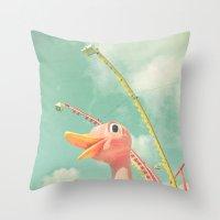 ostrich Throw Pillows featuring Ostrich by Cassia Beck