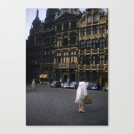 Vintage Color Photo * Kodachrome * Brussels * Town Square * Fashion Canvas Print