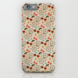 Colorful Hipster Elements Pattern on beige iPhone Case