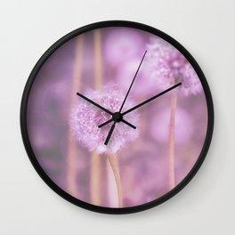Romantik pink dandelion flower meadow Wall Clock