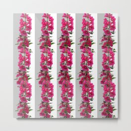 Fuchsia and red hollyhock flower patterns on white Metal Print