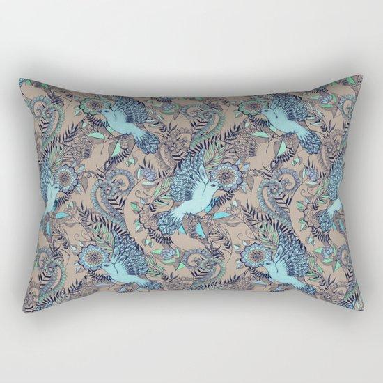 Flight of Fancy - aqua, mint, taupe Rectangular Pillow