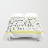 vonnegut Duvet Covers featuring jumping off cliffs - kurt vonnegut quote by Shaina Anderson