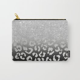 grey silver glitter ombre grey black hand drawn leopard pattern Carry-All Pouch