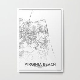 Minimal City Maps - Map Of Virginia Beach, Virginia, United States Metal Print
