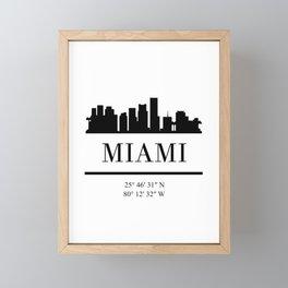 MIAMI FLORIDA BLACK SILHOUETTE SKYLINE ART Framed Mini Art Print