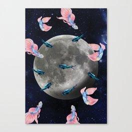 swimming moon Canvas Print