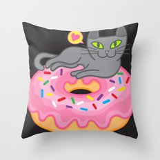 My cat loves donuts 2 Throw Pillow