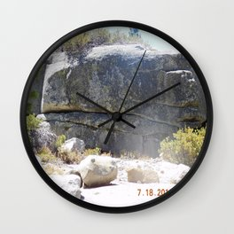 road trip, rock formation, hand, arm, pig hoof, split into each side Wall Clock