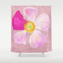 Pink Flower Watercolor on Wrinkled Pink Paper  Shower Curtain