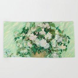 Vase with Pink Roses by Vincent van Gogh Beach Towel