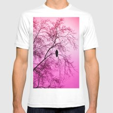 The Sentinal ~ Pink Abstract Mens Fitted Tee MEDIUM White
