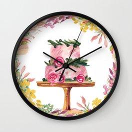 Cake Wreath Rose Pink Wall Clock