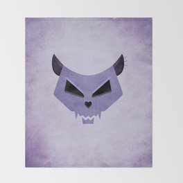 Purple Funny Evil Cat Skull Throw Blanket