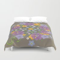 mandela Duvet Covers featuring A mandela of flowers by Bwiselizzy
