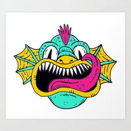 Monster Dragon Face Art Print