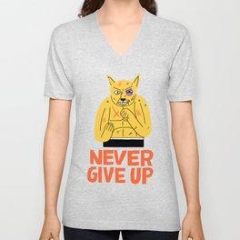 NEVER GIVE UP Unisex V-Neck