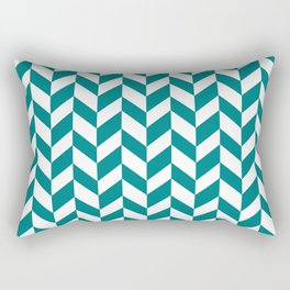 Herringbone Texture (Teal & White) Rectangular Pillow