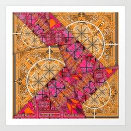 Number 155 golden yellow pink orange pattern Art Print