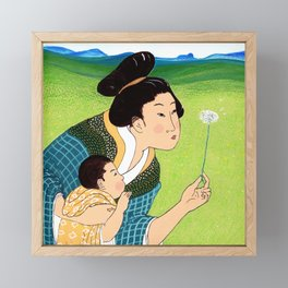 Mrs Hokusai Blows A Dandelion For The Baby Framed Mini Art Print