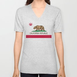 California Republic state flag with red Cannabis leaf Unisex V-Neck