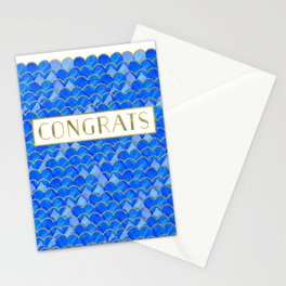 Blue, White & Gold Mermaid Stationery Cards