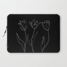 Floral line drawing - Three Tulips Black Laptop Sleeve