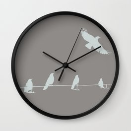 Crows In A Row Wall Clock
