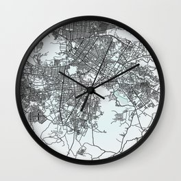Kabul, Afghanistan, White, City, Map Wall Clock