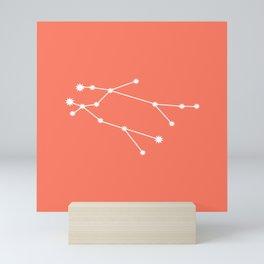 Gemini Zodiac Constellation - Coral Red Mini Art Print