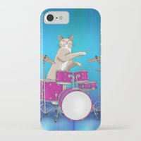 drums iPhone & iPod Cases featuring Cat Playing Drums - Blue by Ornaart