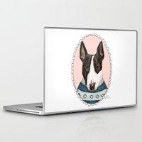 bull terrier Laptop & iPad Skins featuring Bull Terrier by Rhian Davie