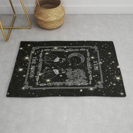 "Tarot ""The Moon"" - silver- cat version Rug"