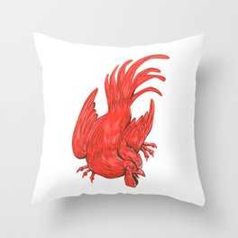 Chicken Rooster Crouching Drawing Throw Pillow